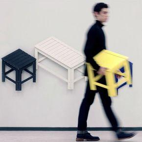 Mobiliario plegable que representa en 2D el objetoreal