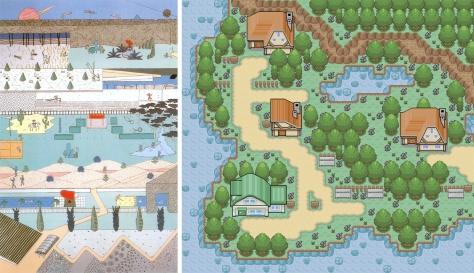 Izq. Propuesta para la Villette, OMA. Dcha. Típico pueblo Pokemon.